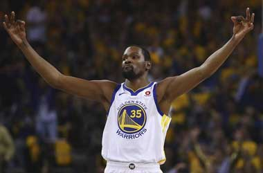 Kevin Durant celebrates against the San Antonio Spurs: NBA Playoffs - Game 5 First Round 2018