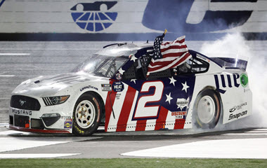 Bad Keselowski takes the checkered flag at the Coca-Cola 600